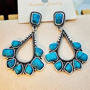 Retro-exaggerated silver Turquoise Earrings